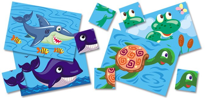 Water Animals Matching Activity