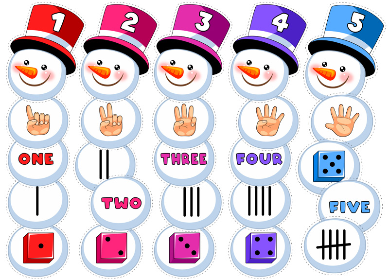 Snowman Number Matching Free Printable