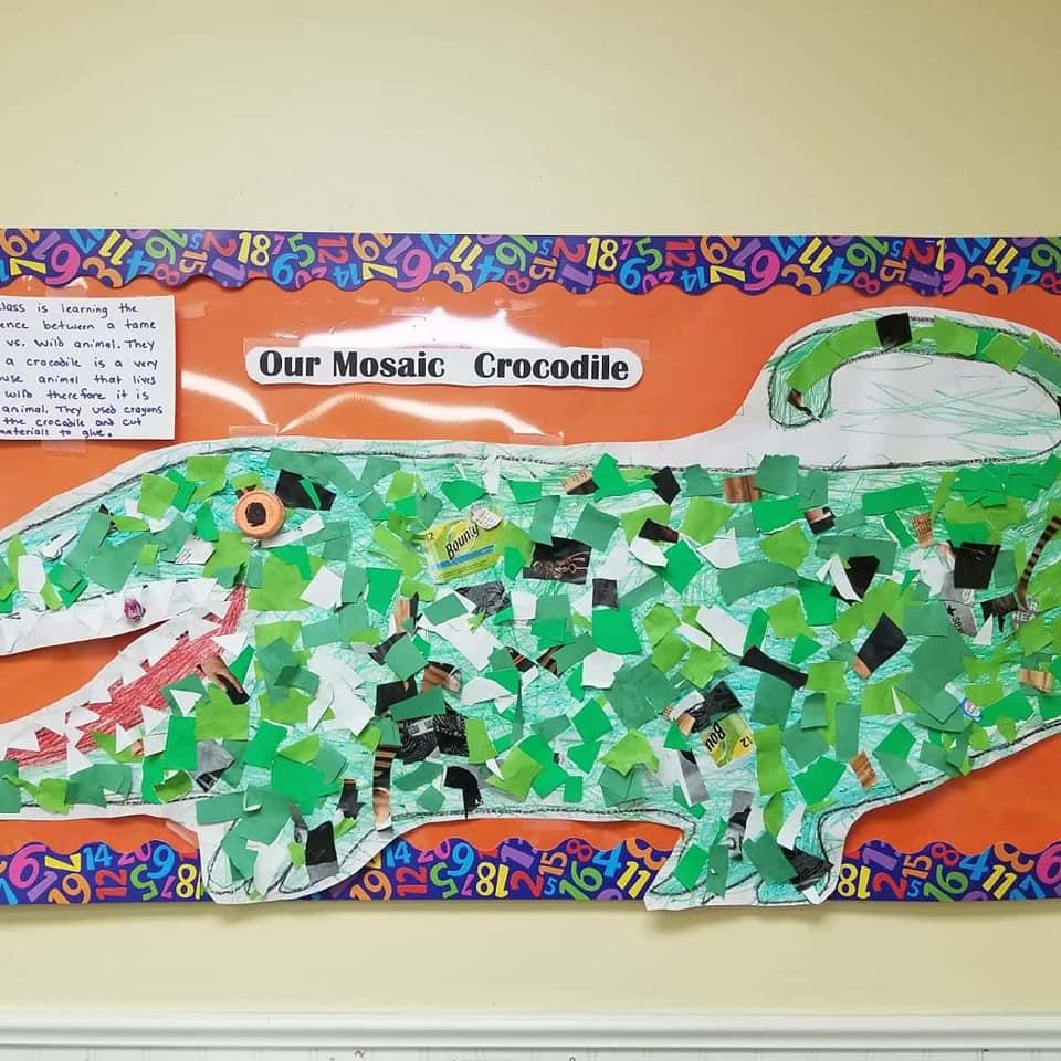 Mosaic Crocodile Craft for Preschoolers