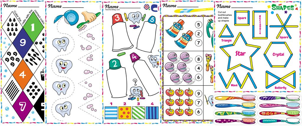 Teeth-Themed Worksheets for Preschool and Kindergarten