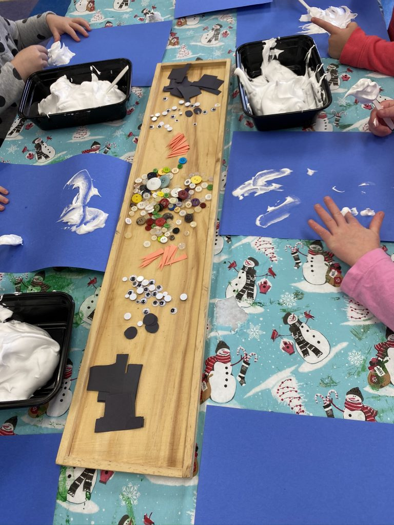 Shaving Cream and Glue Snowman-Making Activity for Preschoolers