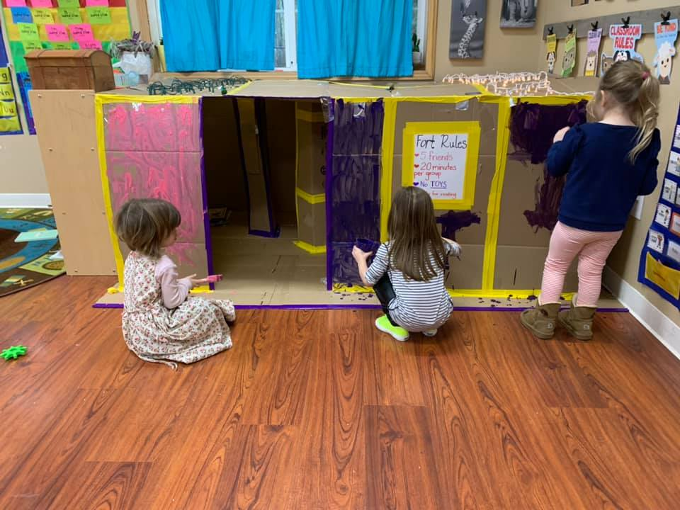 Classroom Reading Fort (and Painting Activity) for Preschool