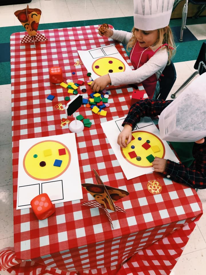 Pizza-Style 2D and 3D Themed Centers About Shapes to Use With Young Students
