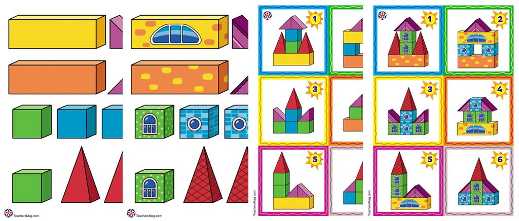 3D Shapes Printable Building Activity for Children