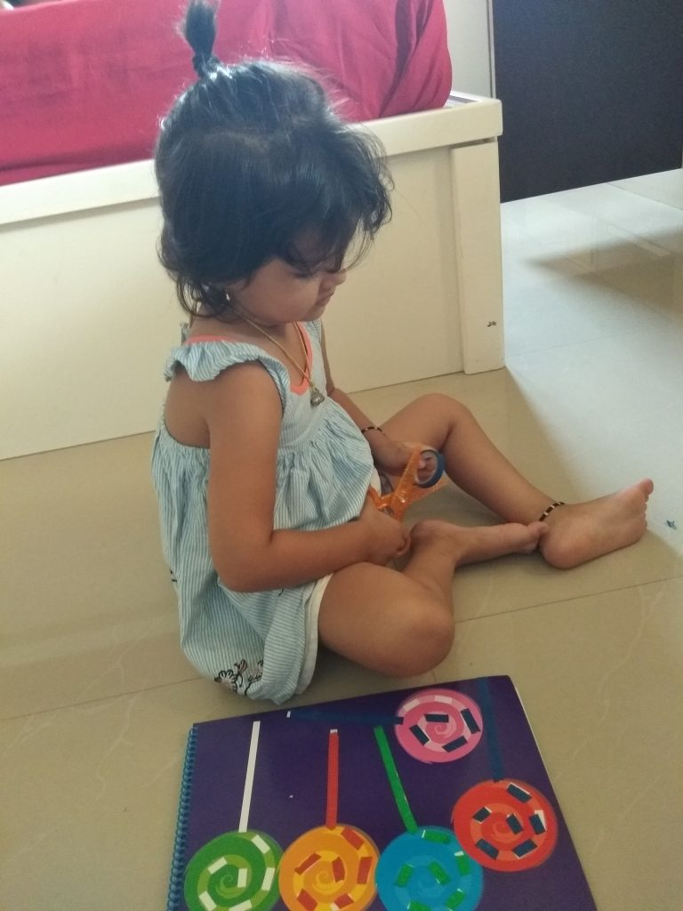 Tape Sticking and Beads Lacing Activity