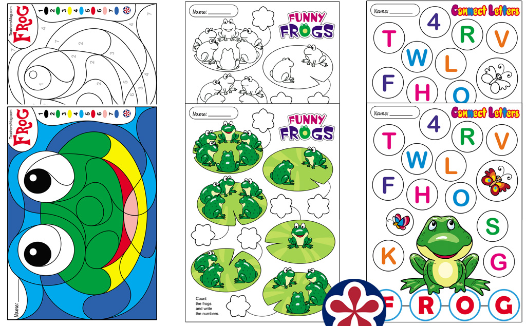 Frog Themed Worksheets for Young Children