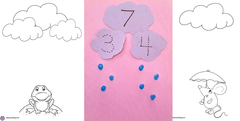 Weather-Themed Math Activity with Rain Clouds