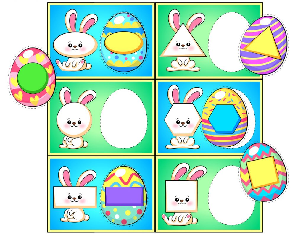 Easter Egg and Bunny Shape Matching Activity for Preschoolers