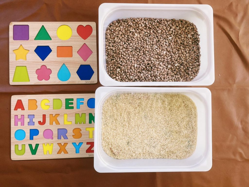 Sensory Bin Treasure Hunt Activity for Letters, Numbers, and Shapes
