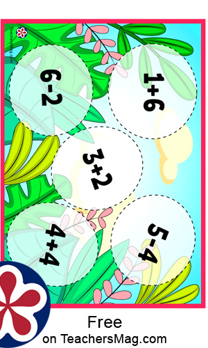 Addition and Subtraction Matching Activity for Kids