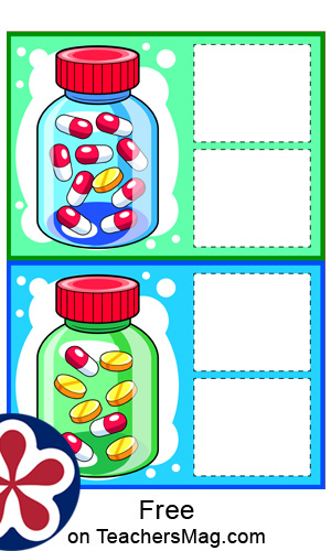 Doctor-Themed Pill Bottle Math Matching Activity for Kids