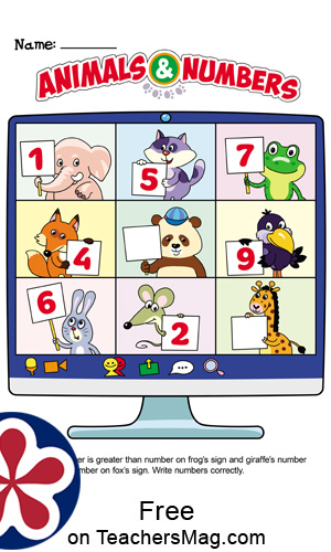 Zoom-Themed Worksheet About Numbers for Children