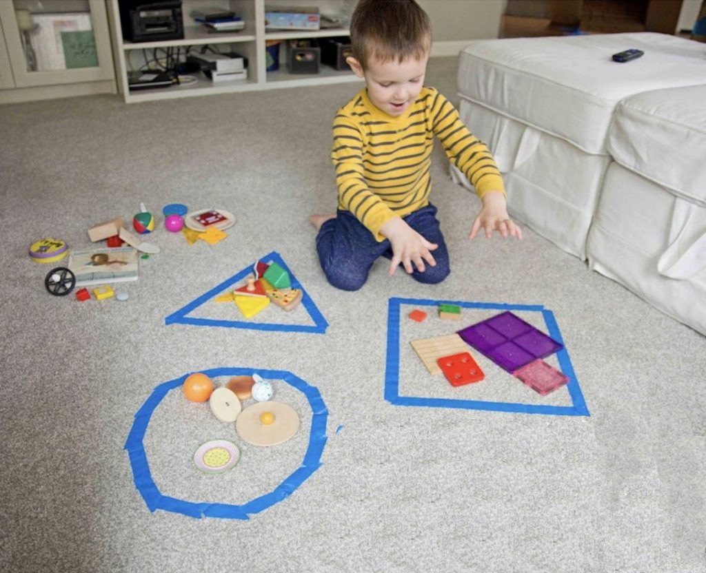 Shape Sorting Activity With Everyday Objects for Toddlers