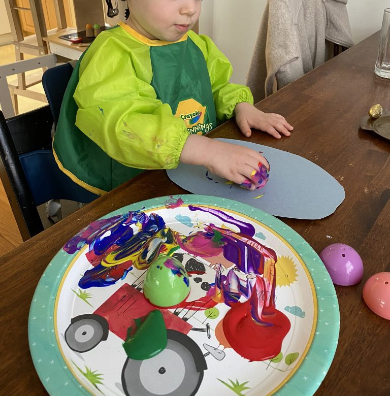 Painting Activity for Toddlers With Plastic Eggs