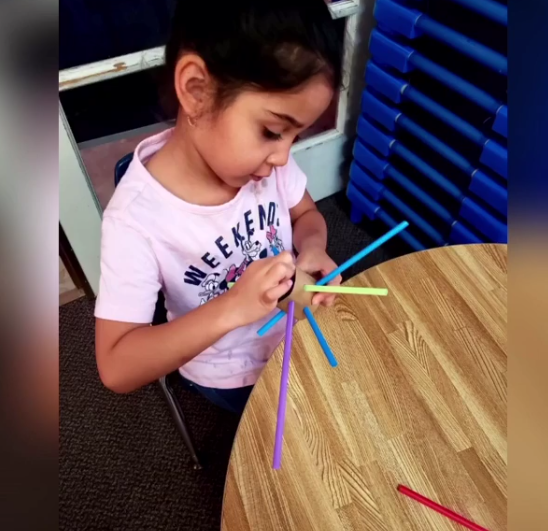 Cardboard Tube and Straws Threading Activity for Preschoolers