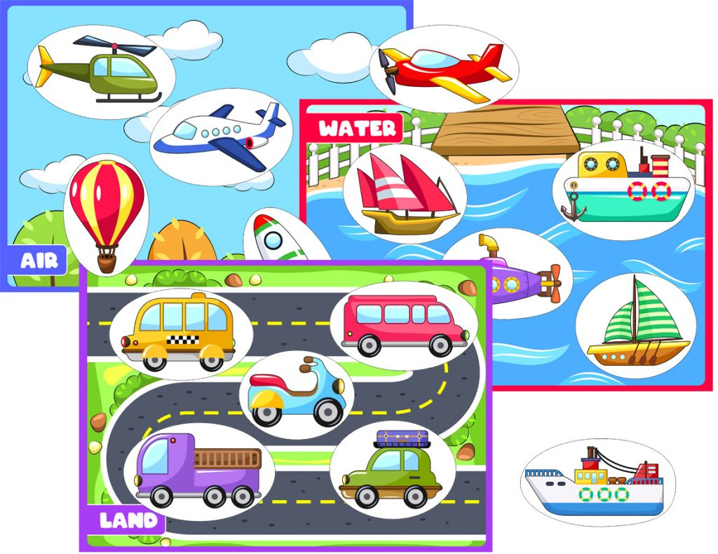 Transportation Worksheets About Land, Air, and Water for Preschoolers