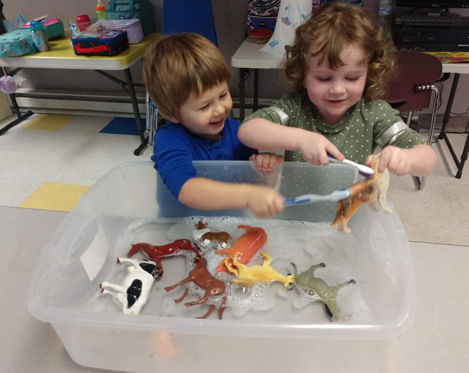 """""""Clean Toys,"""" Sensory Bin for Toddlers"""