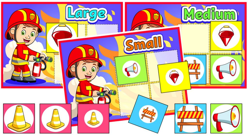 Fire Safety Size-Matching Game for Kids