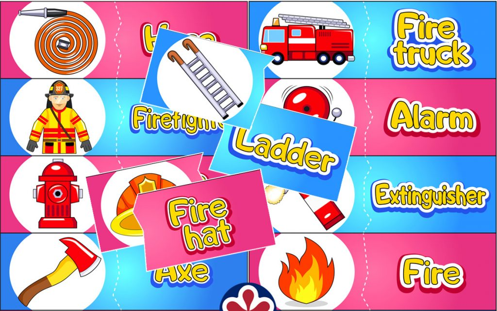 Fire Safety Word-Matching Game for Kids
