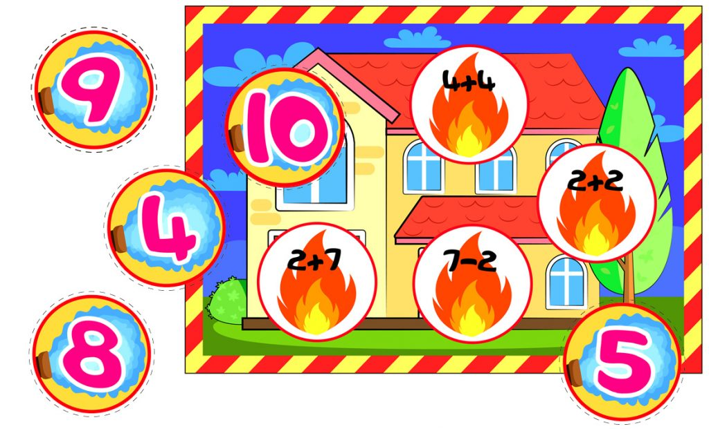 Fire Safety-Themed Math Matching Activity For Kids