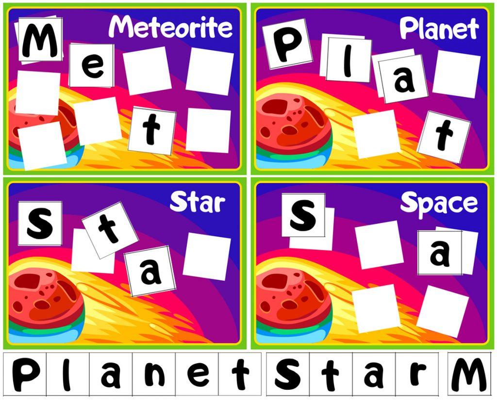 Space Words Spelling Worksheet for Kids