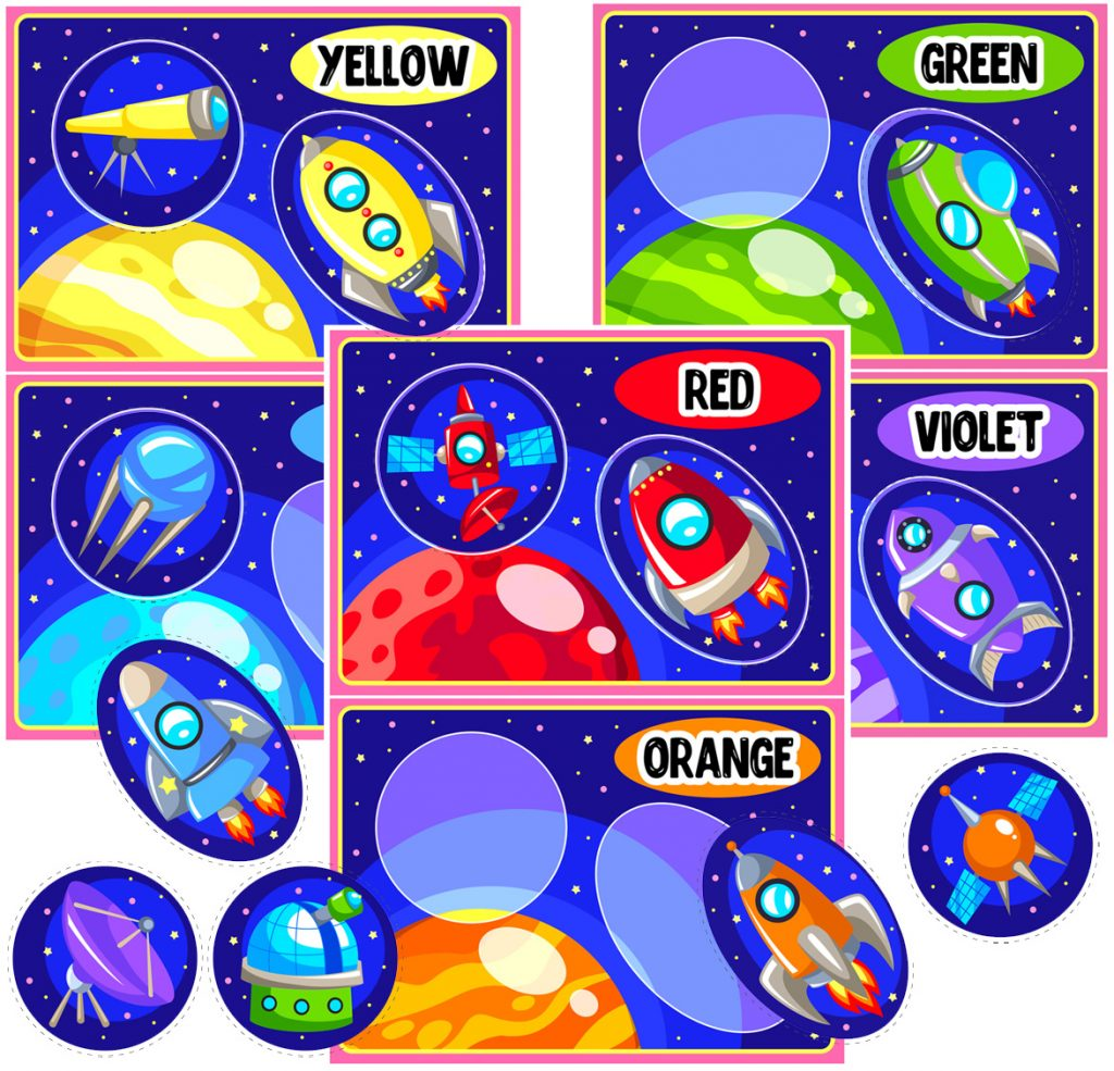 Space-Themed Color Matching Game for Preschoolers