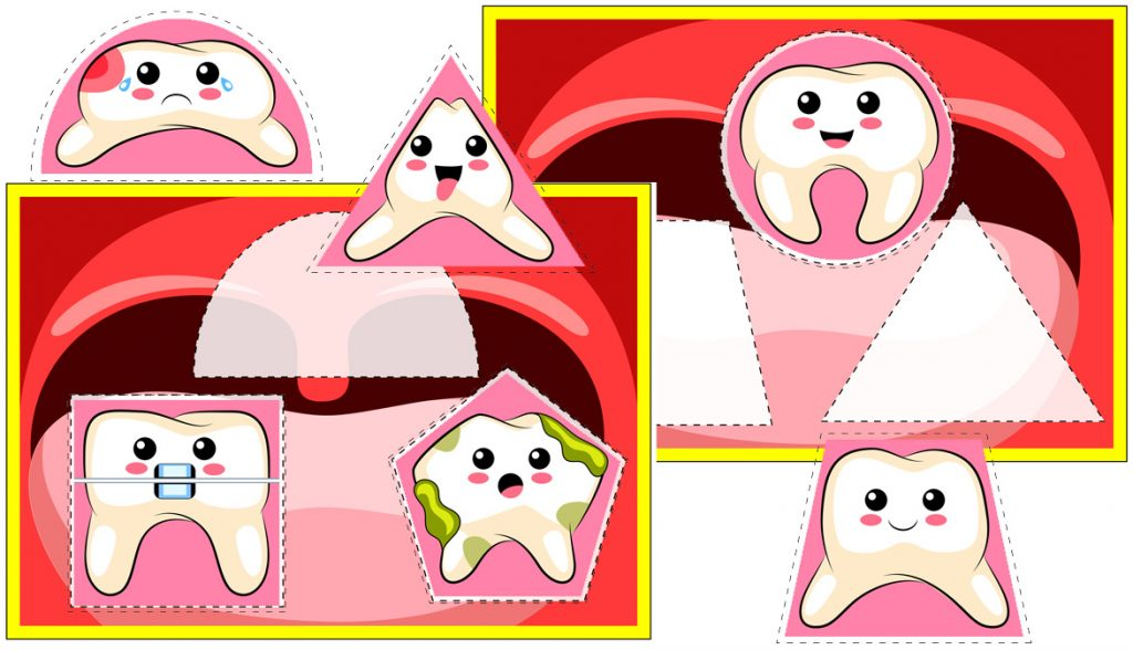 Dental Health-Themed Shape Matching Activity for Preschoolers