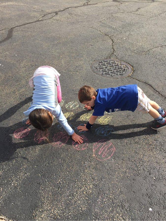 """Playing, """"Twister,"""" With Sidewalk Chalk"""