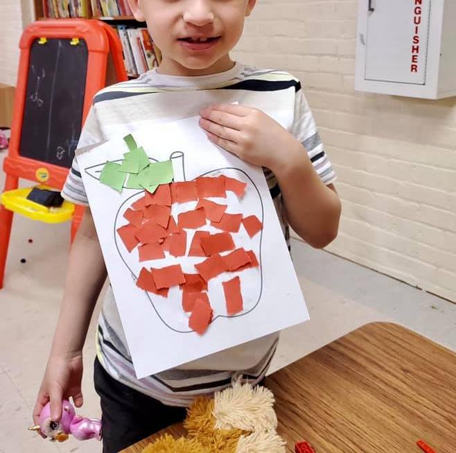 Crepe Paper Apple Craft for Kids