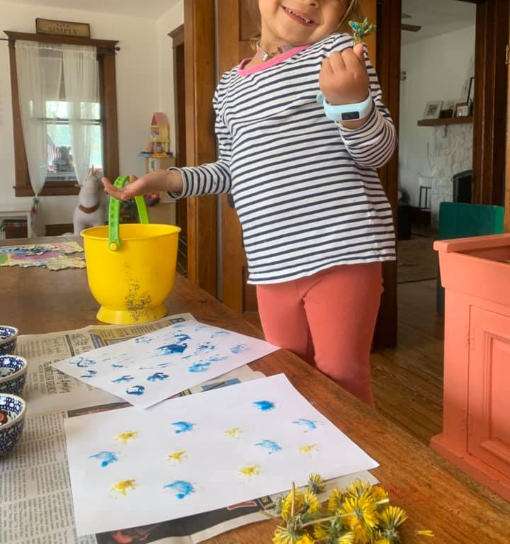 Painting with Dandelions for Springtime Fun