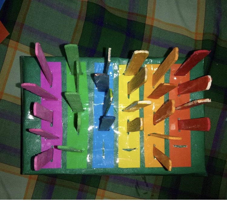 Fine motor with Colorful Popsicle sticks