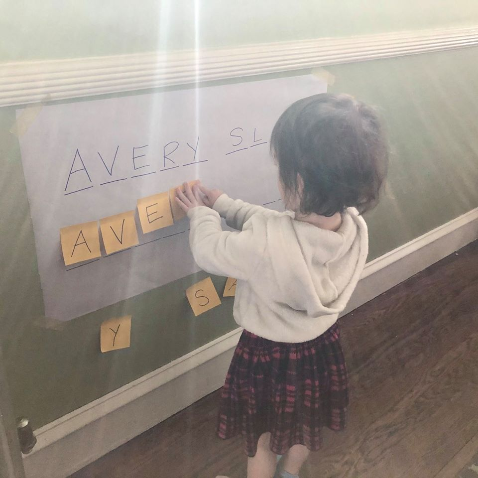 Name Letter-Matching Activity With Post-It Notes for Kids
