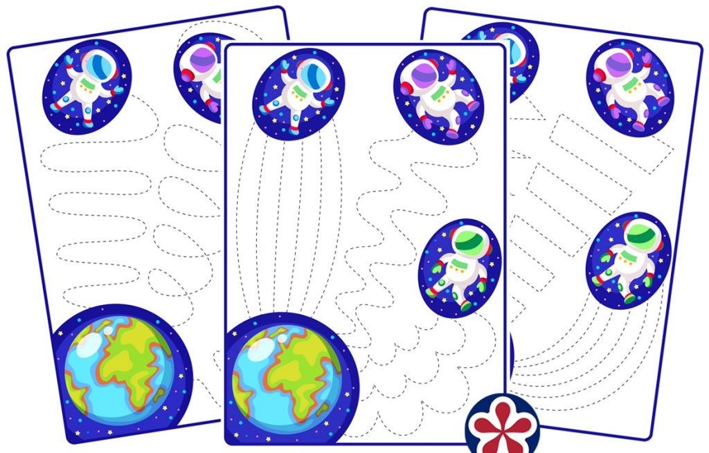Outer Space-Themed Tracing Worksheets for Kids
