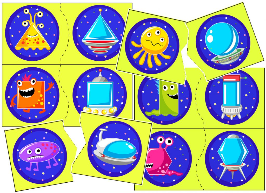 Alien and Ship Shape Matching Activity for Preschoolers