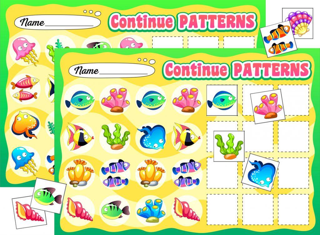 Ocean-Themed Fish Pattern Worksheets