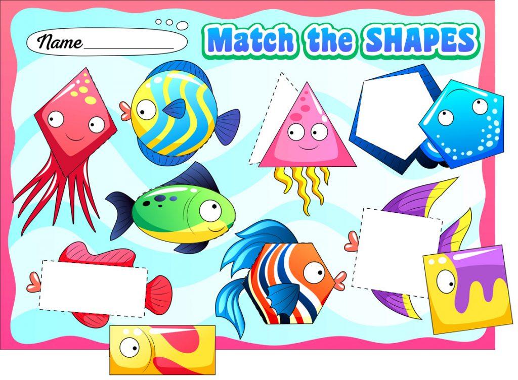 Fish Shape Matching Worksheet for Preschoolers