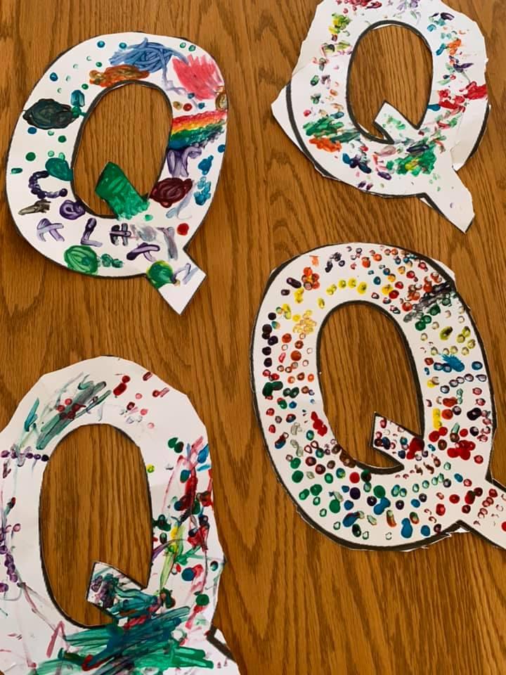 Q-themed Q-Tip Painting
