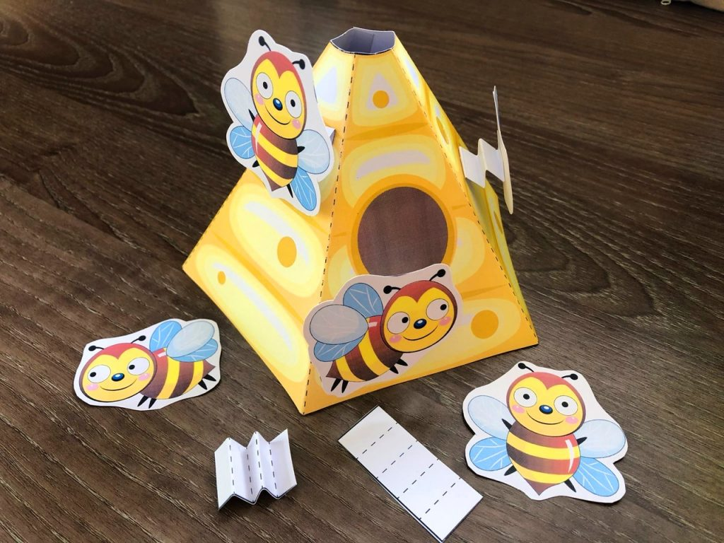 Bee-Themed Paper Craft Template