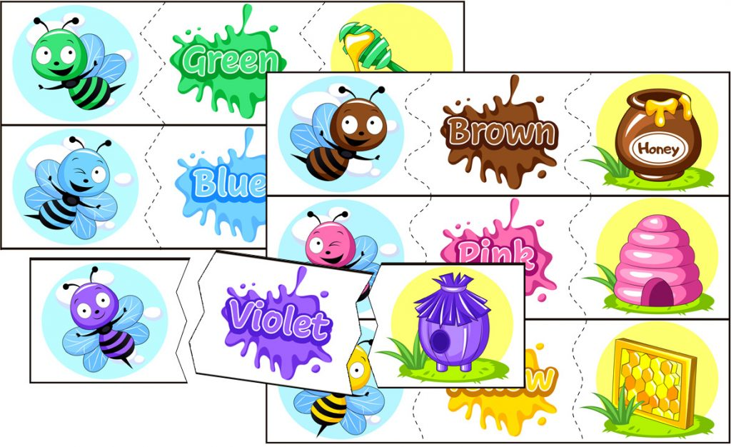 Colorful Bees Matching Activity
