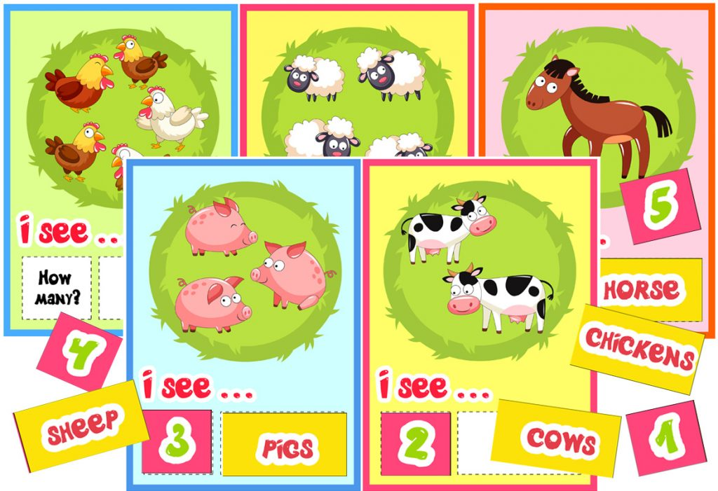 Farm-Themed Counting Up to 5