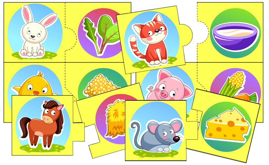 """""""Who Eats What on the Farm?"""" Puzzle Matching Activity"""