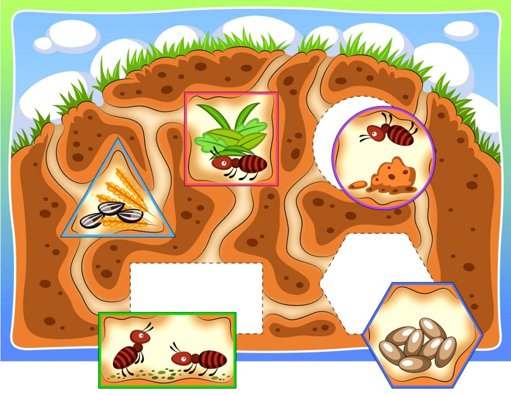 Printable Ant Hill Shape Matching Activity