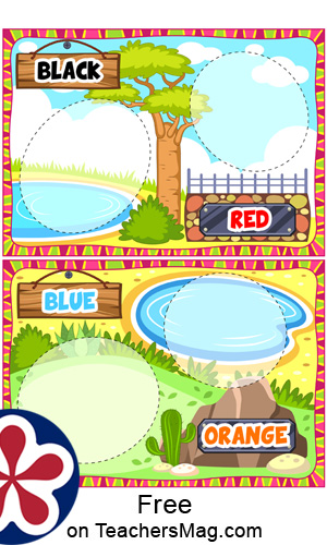 African Zoo Themed Color Matching  Activity For Kids