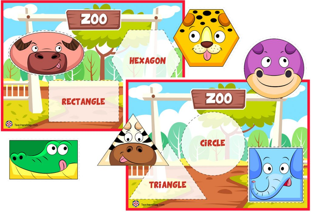 Zoo-Themed Animal Shape Matching Activity