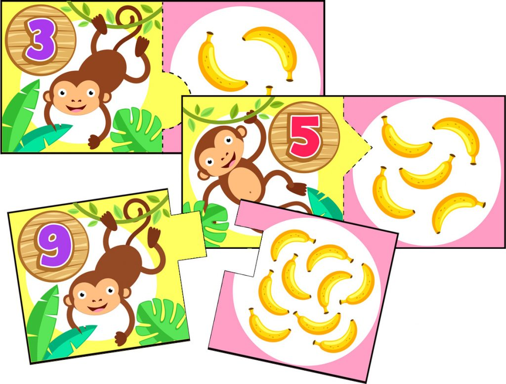 Monkey and Banana Number Matching Card Activity